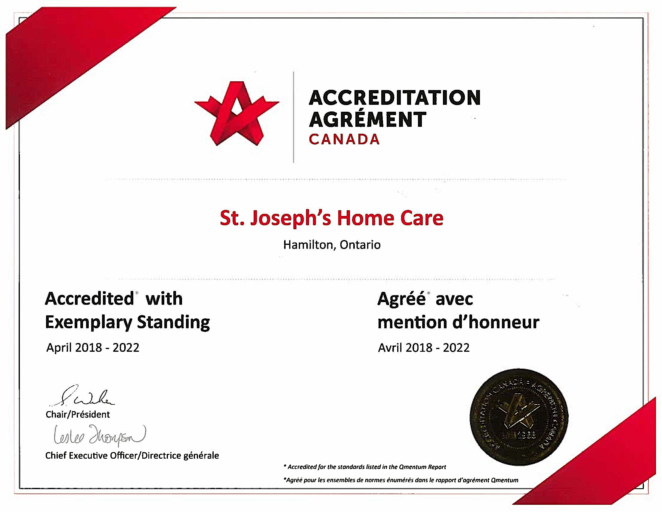 2018 to 2022 Accreditation Certificate